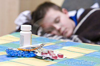 Sick teenager and medicines