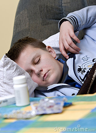 Sick Teenager Sleeping with Pills