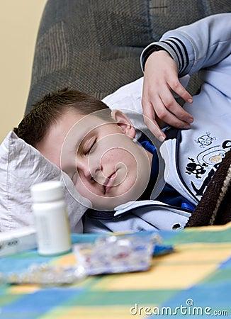 Sick Teenager Sleeping with Pills