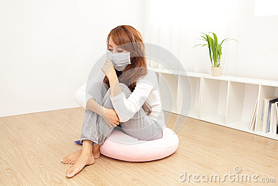 Sick Woman caught Cold and fever