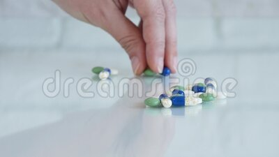 Sick Woman Dosage Pills for Daily Treatment, Drugs for Disease, Medicines Healthcare.  stock footage