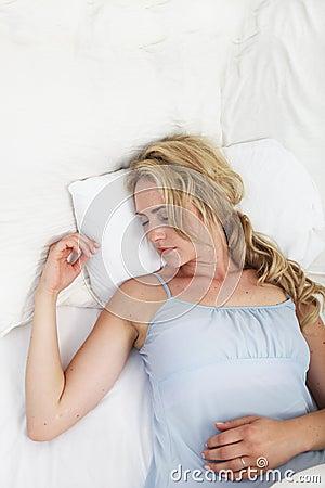 Sick woman sleeping
