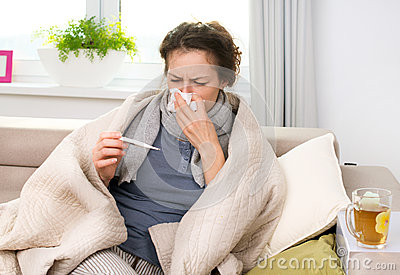 Sick Woman with Thermometer. Flu