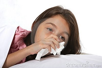 Sick Young Girl with Cold