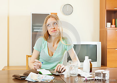 Sickness  woman counting the cost of treatment