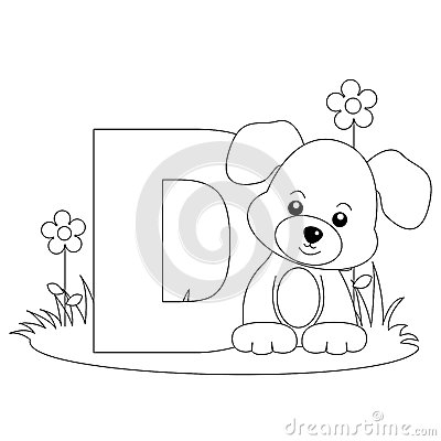 Sida för färgläggning D för alfabet djur