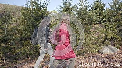 Sida vid sida av unga fågellipar som går i höstparken Hippie man och kvinna rullar utomhus Carefree pojkvän stock video