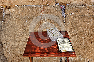 Siddur and Book of Psalms at Western Wall in Jerusalem.