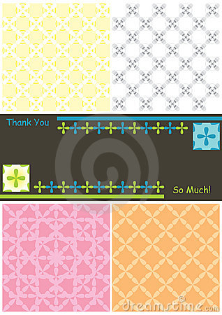 Side 4 Flowers 6 Seamless Pattern Thanks Card_eps