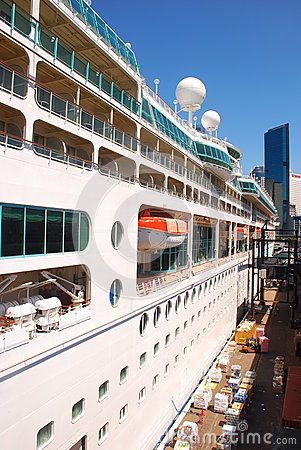 Side of a Cruise Ship Editorial Stock Photo