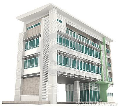 Side of 3d modern office building architecture exterior for Modern office exterior design