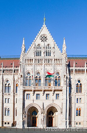 Free Side Entrance Of Hungarian Parliament Building In Budapest, Hungary Stock Photo - 113092700
