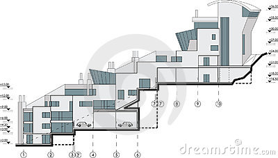 Side Facade Building Drawing Stock Image Image 12416471
