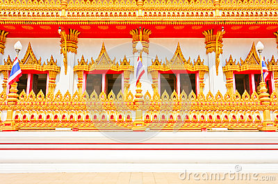 Side of Golden pagoda at the Thai temple, Khonkaen Thailand