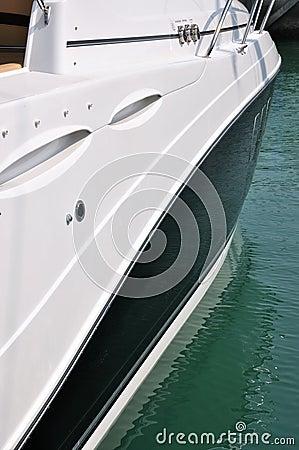 Side of luxury yacht
