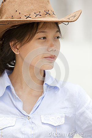Free Side Of Asian Women With Cowboy Leather Hat Royalty Free Stock Images - 29807749