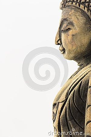 Free Side Of Wood Buddha Isolated On White Background Stock Images - 31726054