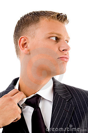 Side pose of businessman feeling hot