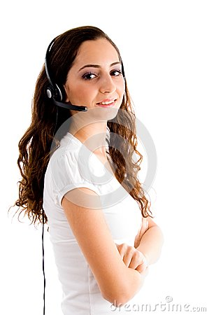 Side pose of female with headphone