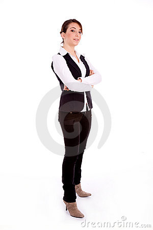 Side pose of standing busineswoman
