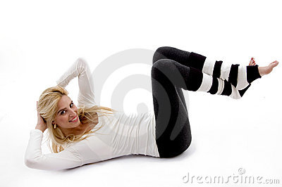 Side pose of woman doing workout