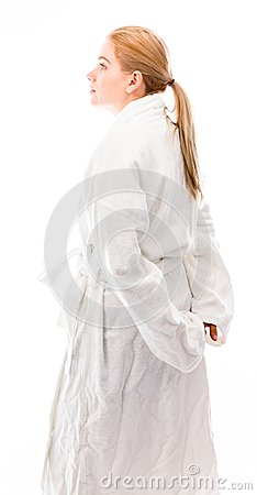 Free Side Profile Of A Young Woman Standing In Bathrobe Stock Images - 41949824