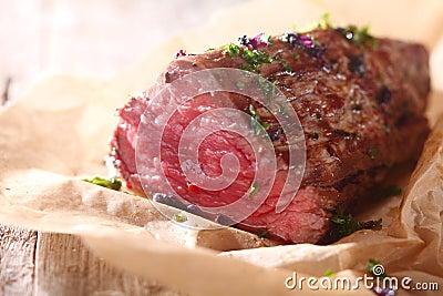 Side of rare roast beef fillet