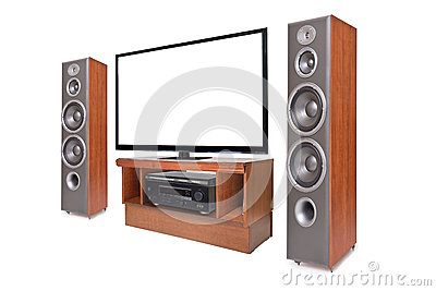Side shot of home cinema system