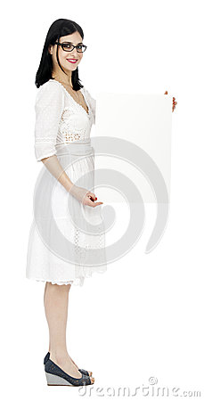 Summer Dress Woman Holding Sign