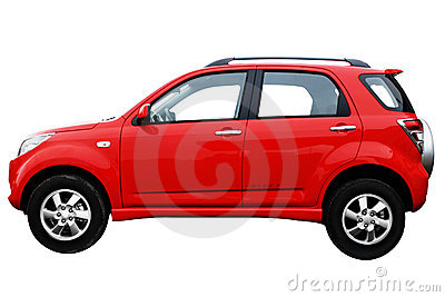 Side view af a red modern car