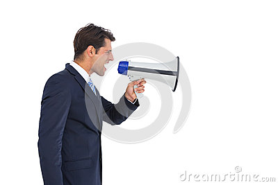 Side view of a businessman shouting on his megaphone