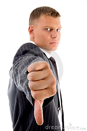 Side view of businessman with thumbs down
