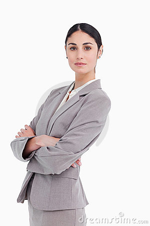 Side view of businesswoman with folded arms