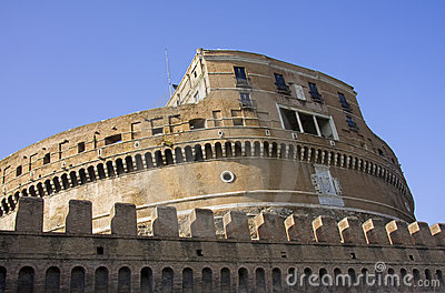 Side view of Castle Saint Angelo in Rome
