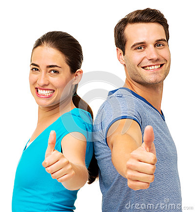 Side View Of Couple Showing Thumbs Up Gesture