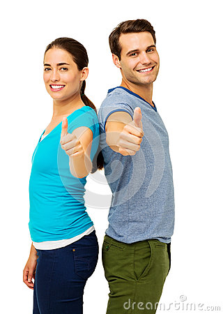 Side View Of Couple Showing Thumbs Up Sign