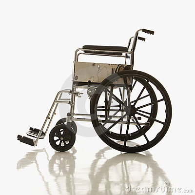 Side view of empty wheelchair.
