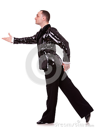 Side view of a flashy male latino dancer