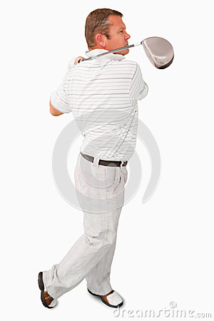 Side view of golfer