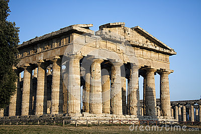 Side view of Hera temple in Paestum, Italy