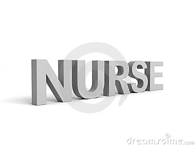 Side view of nurse word in gray color