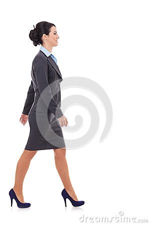 Free Side View Of A Business Woman Walking Royalty Free Stock Photo - 28782925
