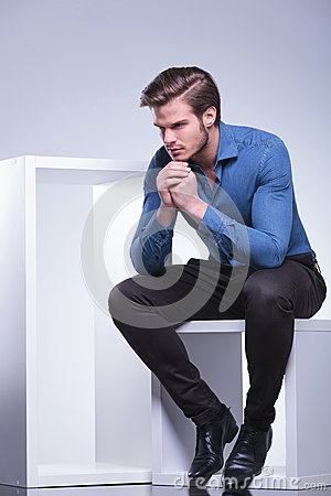 Free Side View Of A Pensive Young Casual Man Stock Photos - 38890733