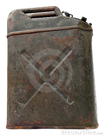 Side view of an old rusty jerrycan