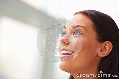 Side view portrait of beautiful woman looking away