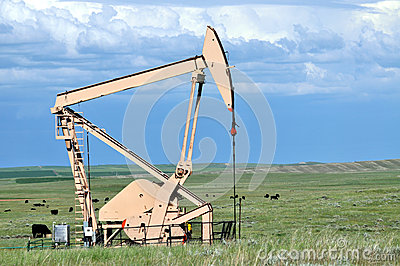 Side view of a pump jack