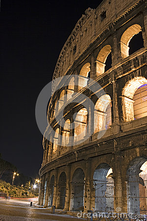 Side view of the Roman Colosseum, Italy
