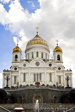 Side view of Russian cathedral in Moscow.
