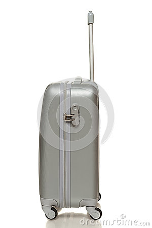 Side view of silver travel suitcase