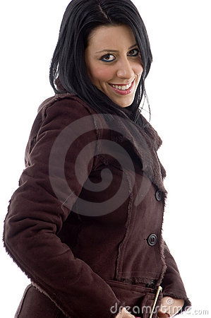 Side view of smiling woman on white background